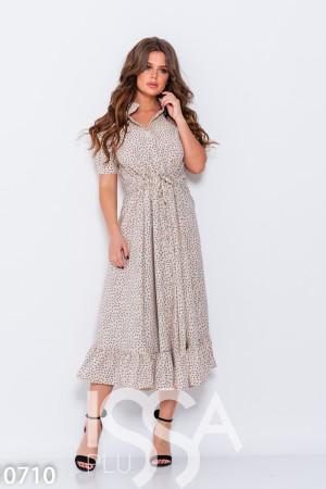 198fe491e14 Бежевое платье с оригинальным принтом и кулиской