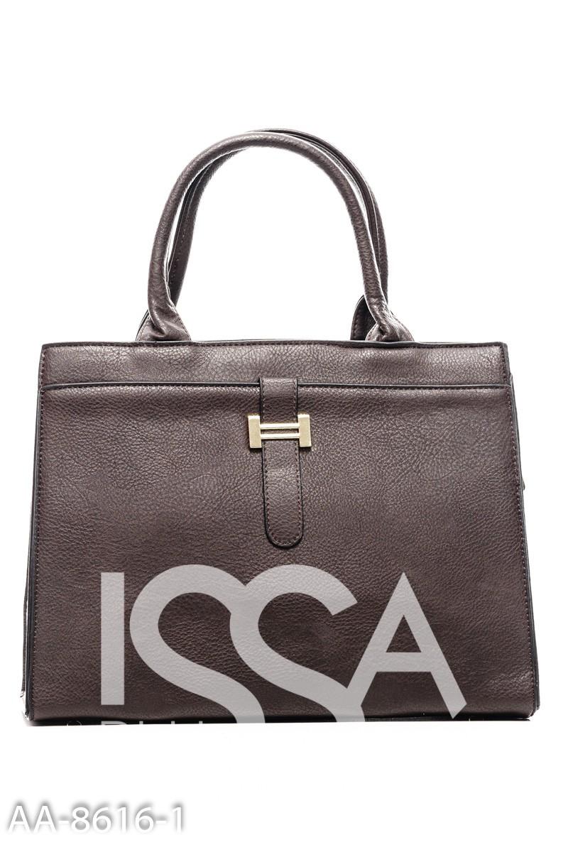 Темно-коричневая сумочка-трапеция на жесткой основе с золотистой фурнитурой