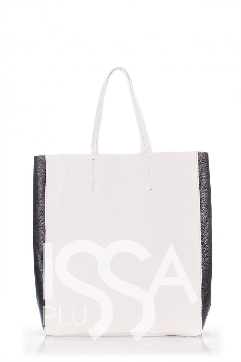 Белая кожаная сумка City с черными вставками