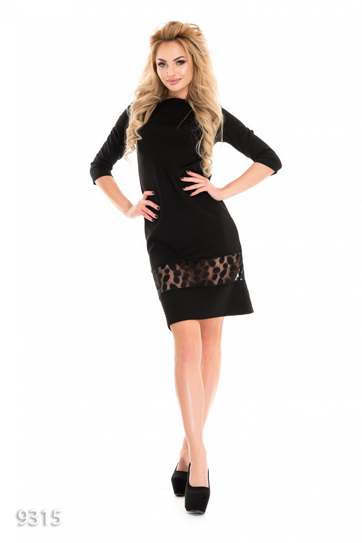 aa375c60546 Черное платье-трапеция с широкой ажурной вставкой  243 грн. фото 2 ...