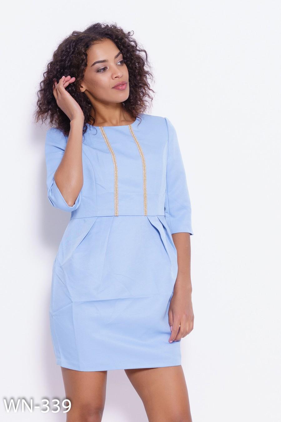 8147903616f Голубое платье-футляр с золотистой тесьмой  233 грн. фото 2 ...