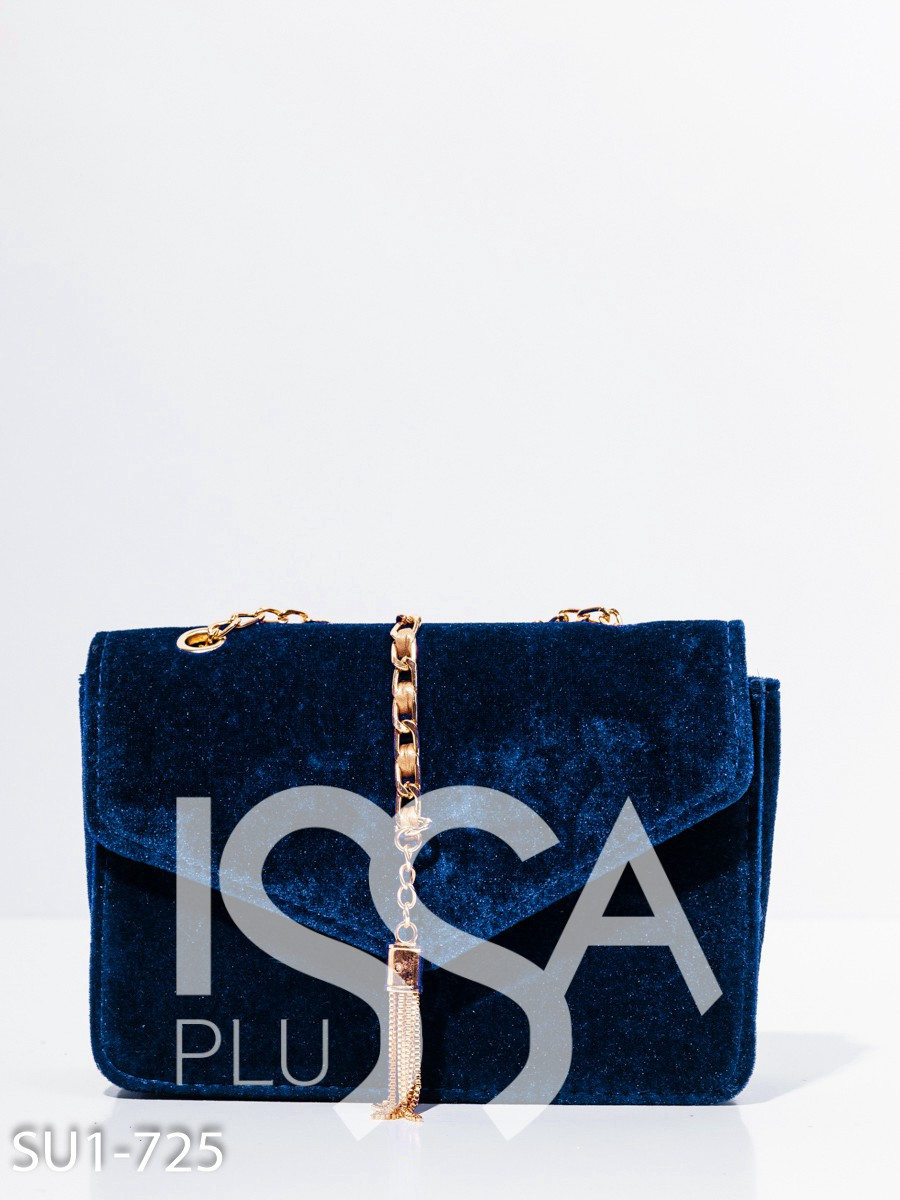 Синяя велюровая сумка с золотистой подвеской