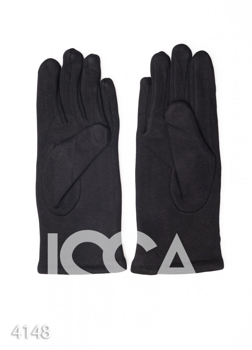 Комбинированные черные перчатки с узором сверху