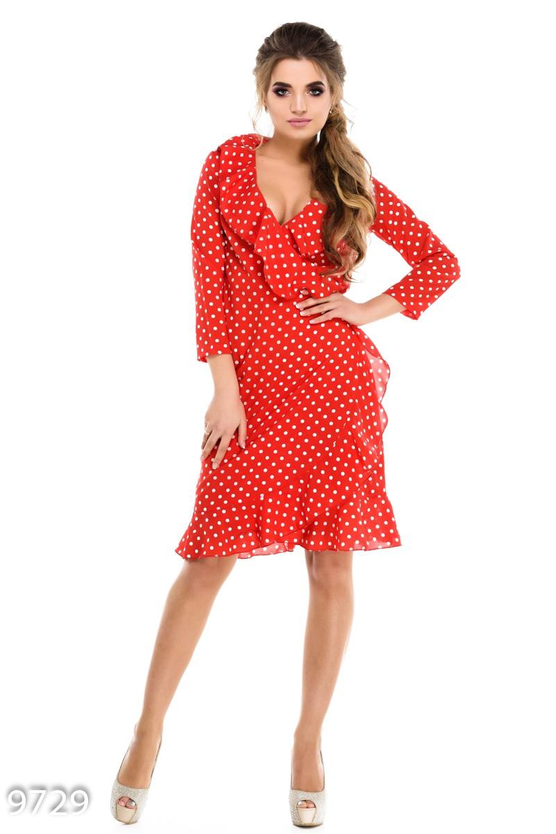 c46e666e3d4 Красное платье с воланами и с запахом на тонком пояске  260 грн. фото 2 ...