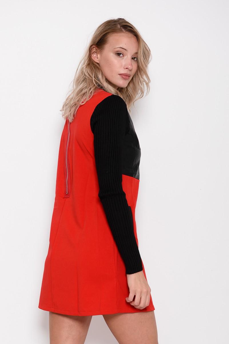 1ee885810f1 ... Черно-красное платье с карманами