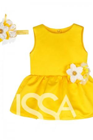 efd220832ea Желтое платье из атласа с цветком на поясе и повязкой на голову с белыми и  желтыми