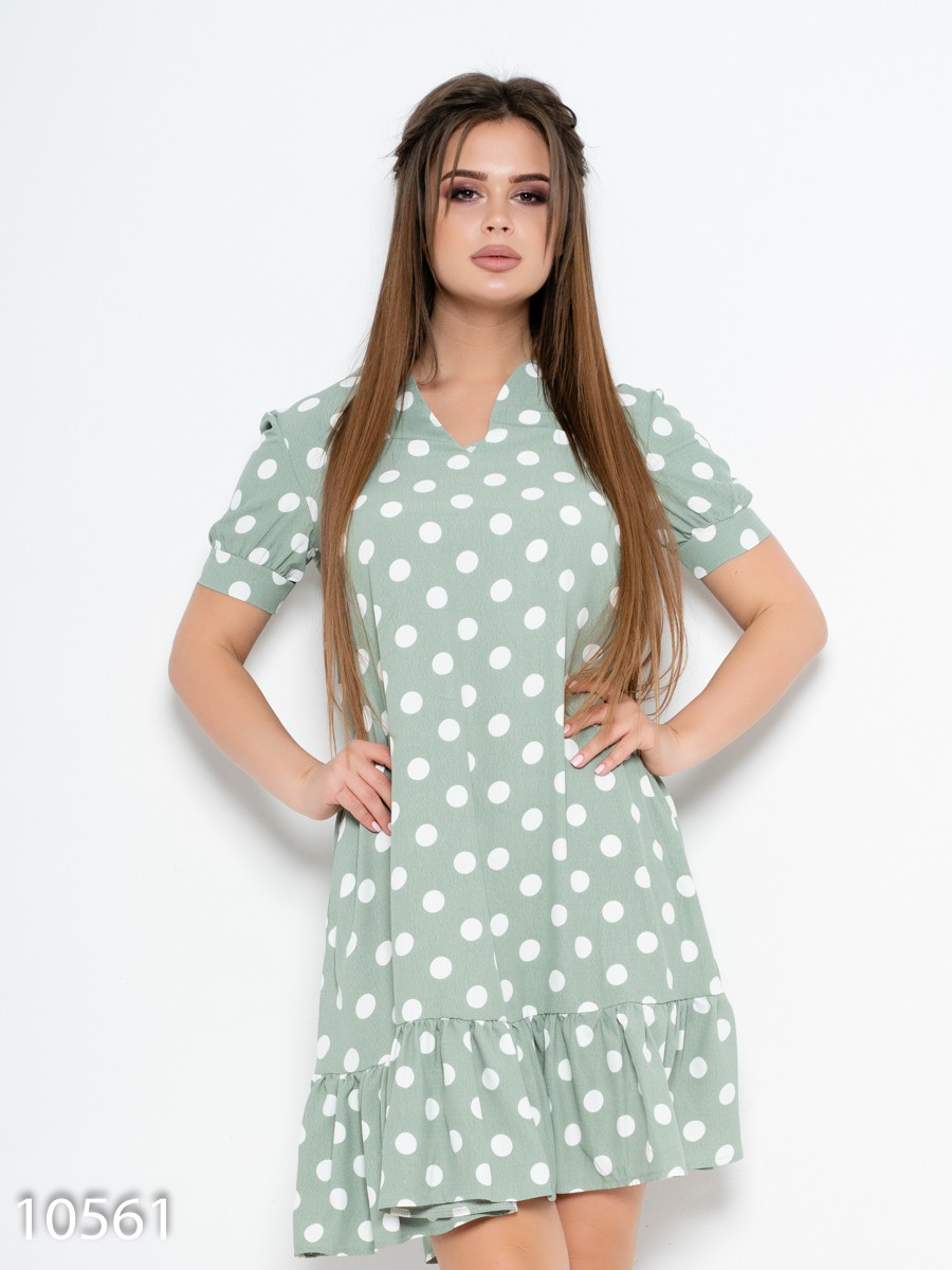 ab8de658ba5 Зеленое платье в горошек с воланом  417 грн. фото 2 ...