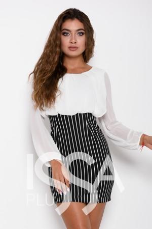 bd9bbe571d6 Черно-белое комбинированное платье с полосатой юбкой и шифоновой блузой