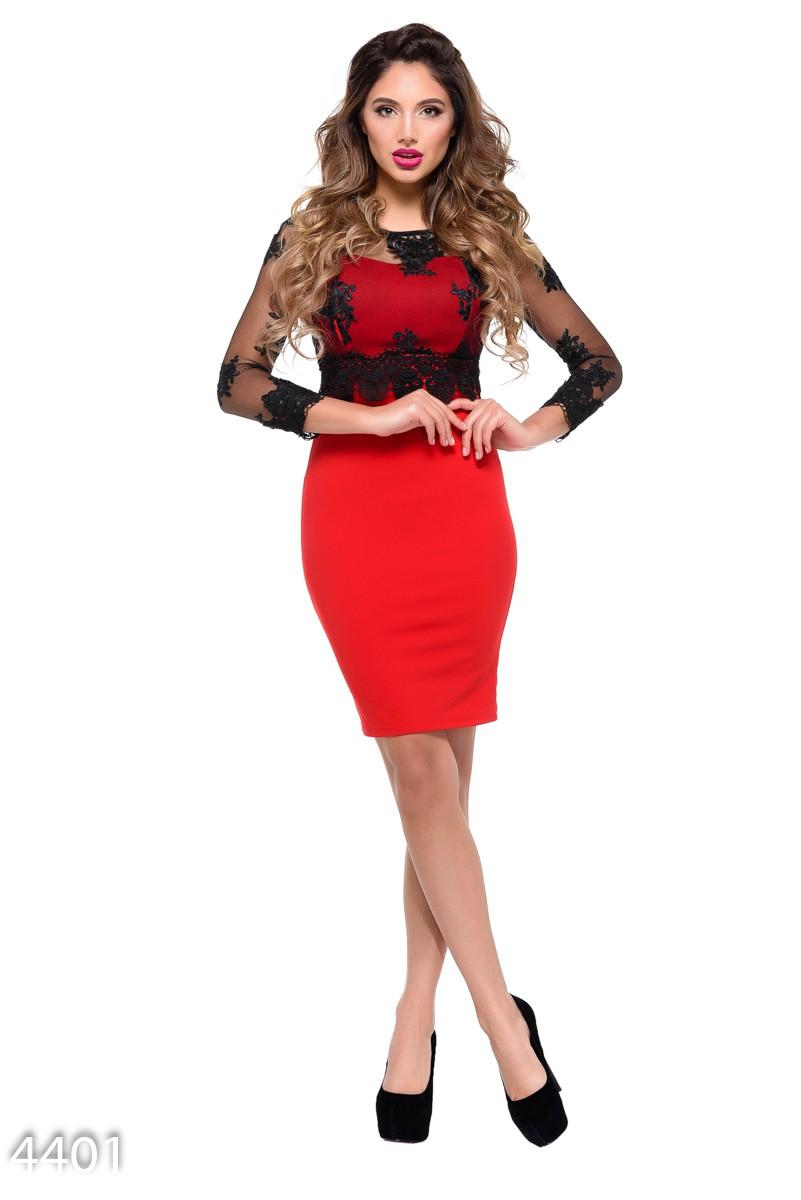 f301f4675cf Красное облегающее вечернее платье с кружевным черным полупрозрачным верхом   1 020 грн. фото 2 ...