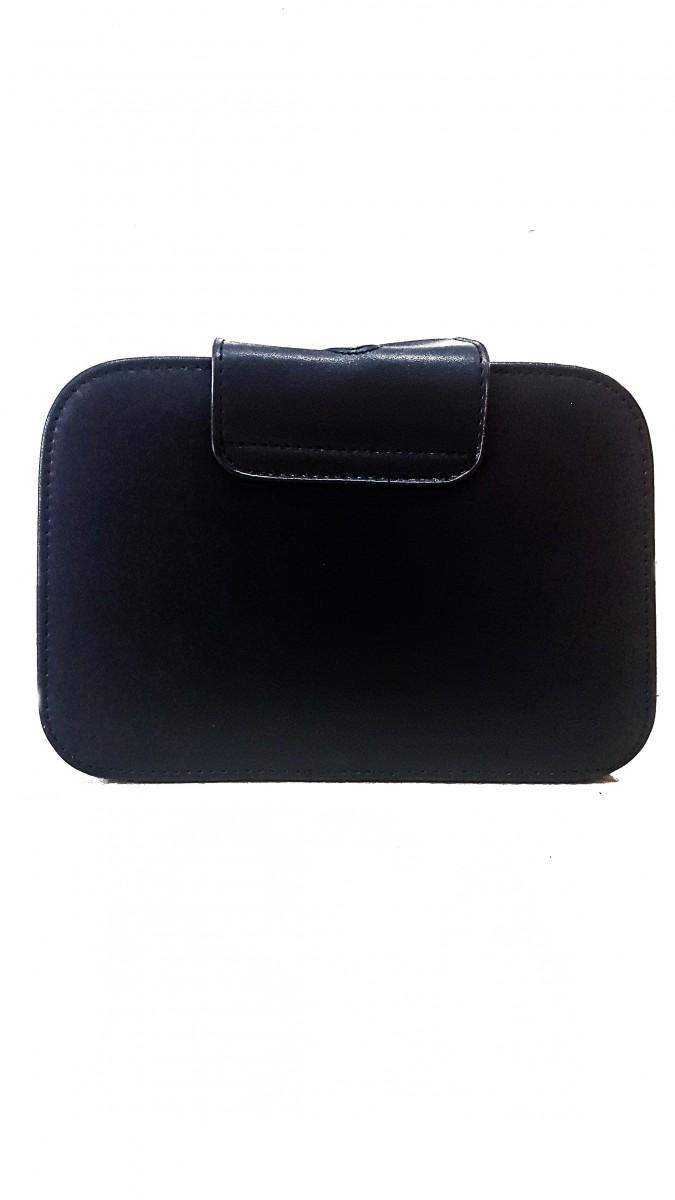 Компактная сумочка из эко-кожи с покрытием из серебряных блесток