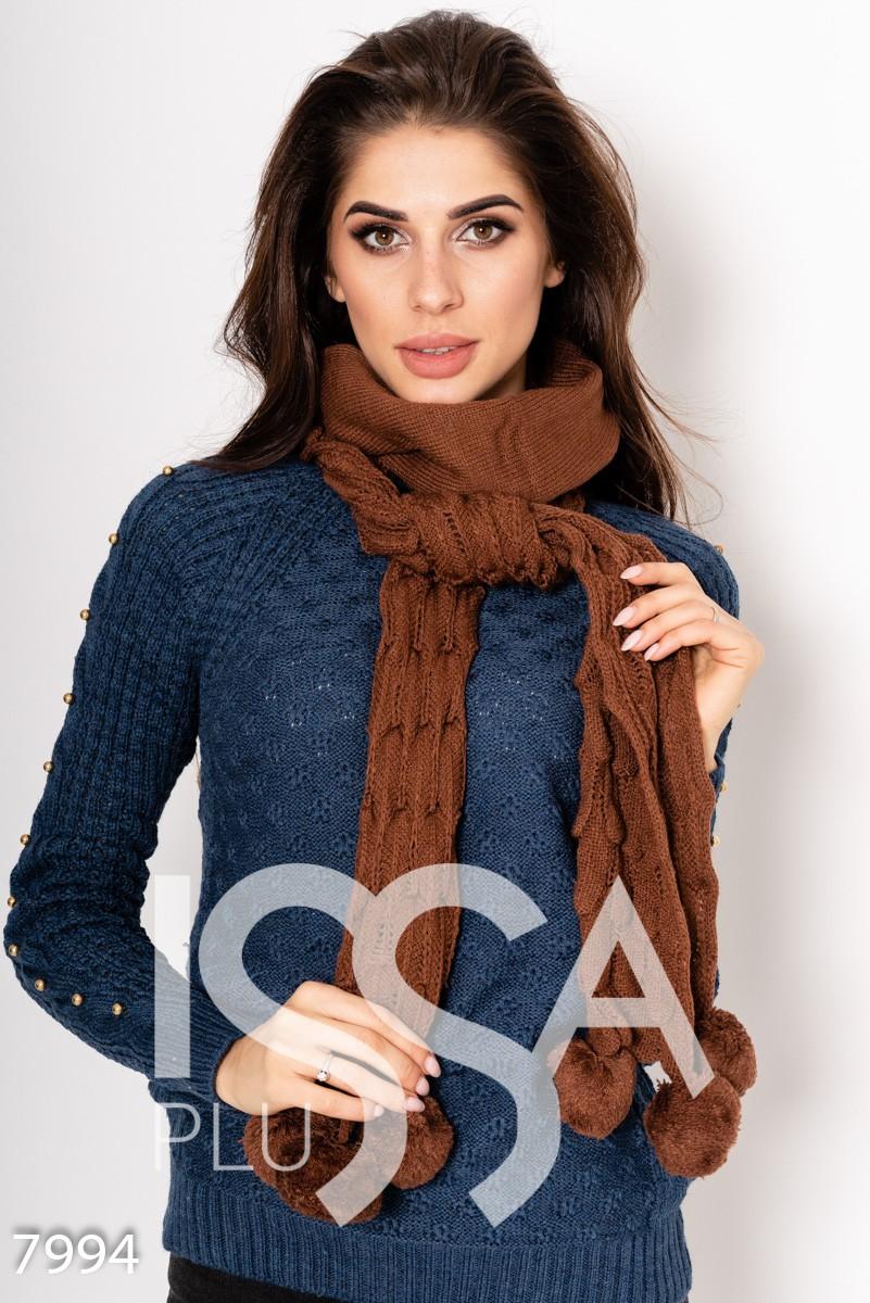 Коричневый шерстяной шарф объемной вязки с помпонами