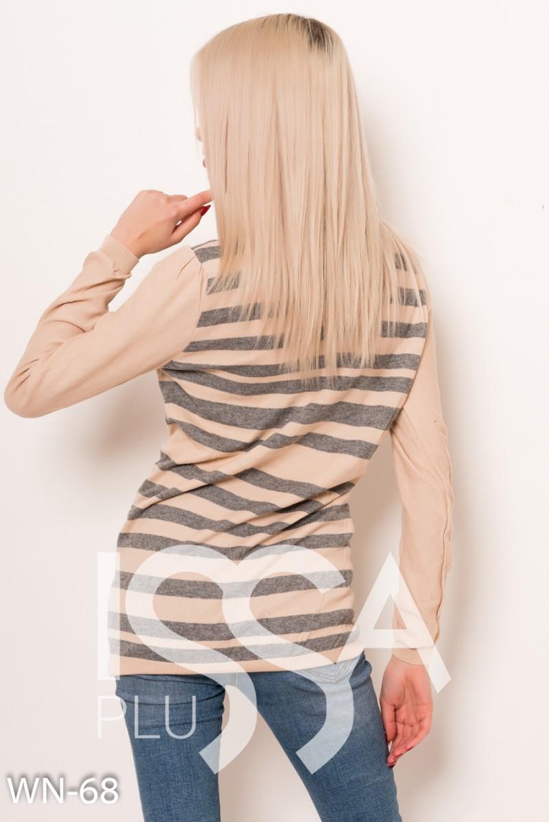 Бежево-серый ангоровый полосатый свитер
