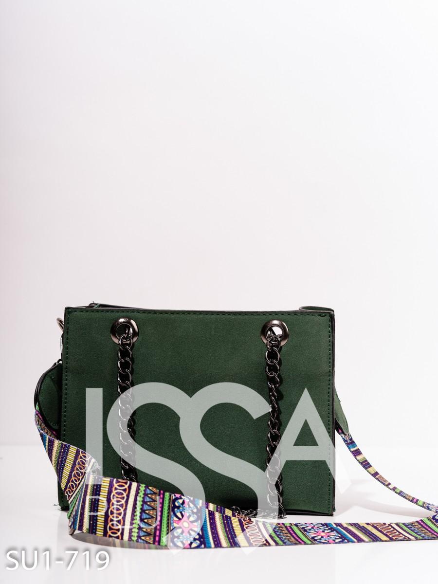 Зеленая замшевая маленькая сумка с принтом