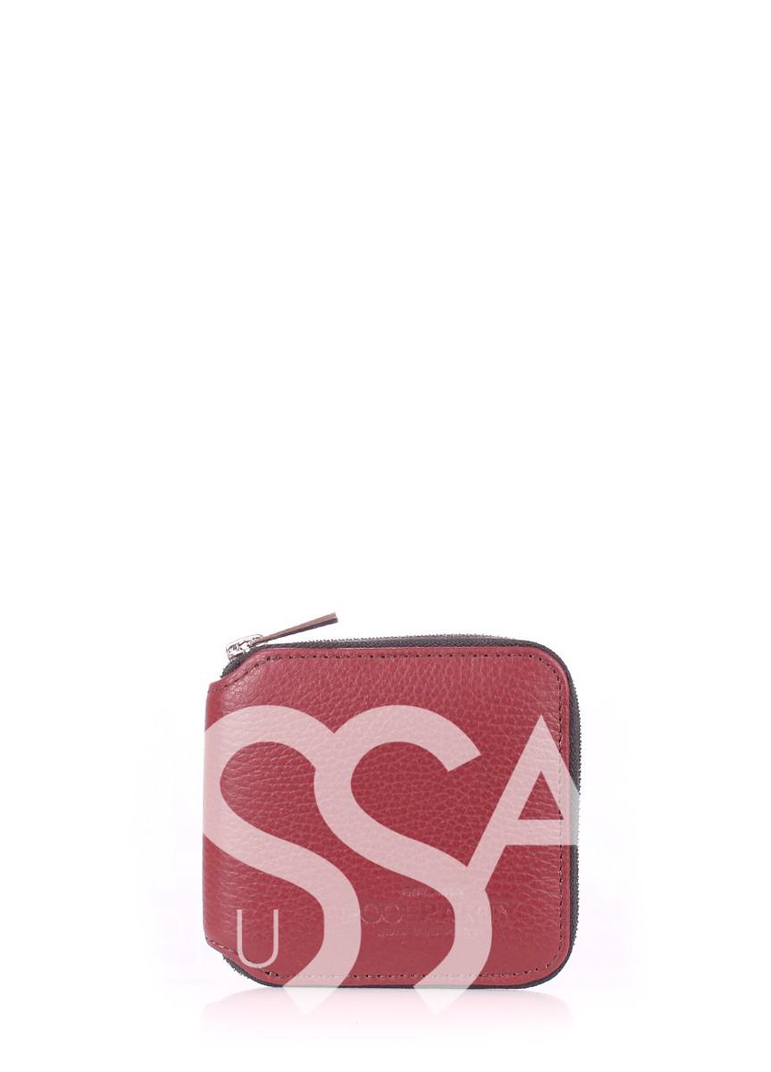 Бордовый кошелек Miniwallet из натуральной кожи