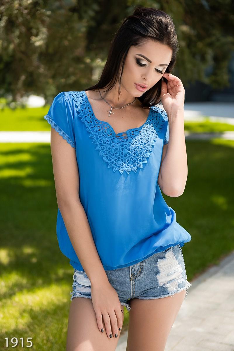 Ярко синяя блузка доставка