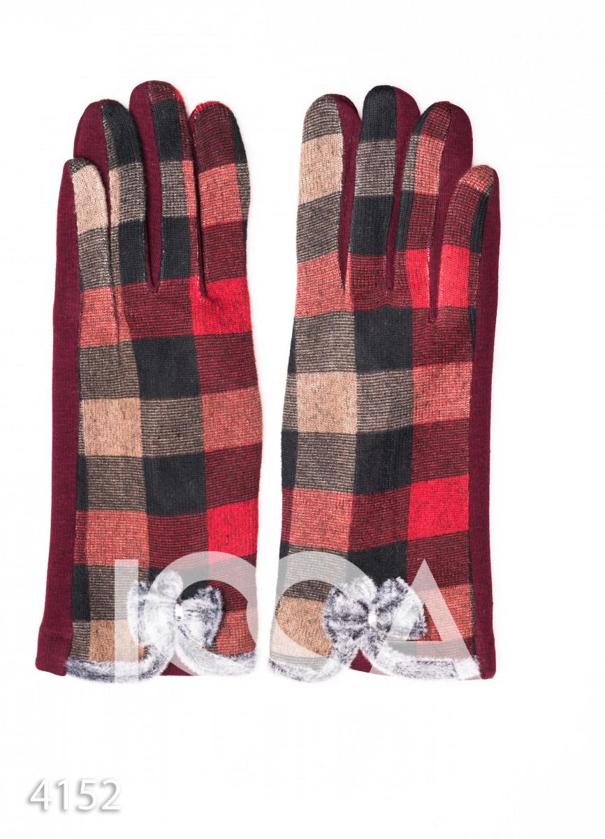 Бордовые клетчатые перчатки с меховыми бантиками