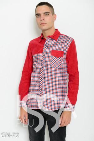 Бордовая комбинированная клетчатая рубашка с вельветовыми вставками bc6ff010a4518