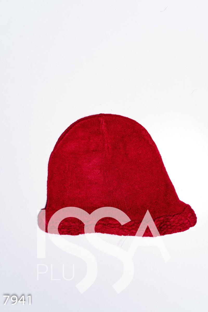 Красная шерстяная тонкая шапка с объемной манжетой