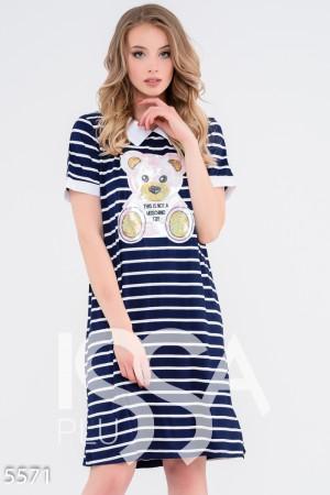 9e961893982 Темно-синее платье в полоску с отложным воротничком и вышитым пайетками  мишкой