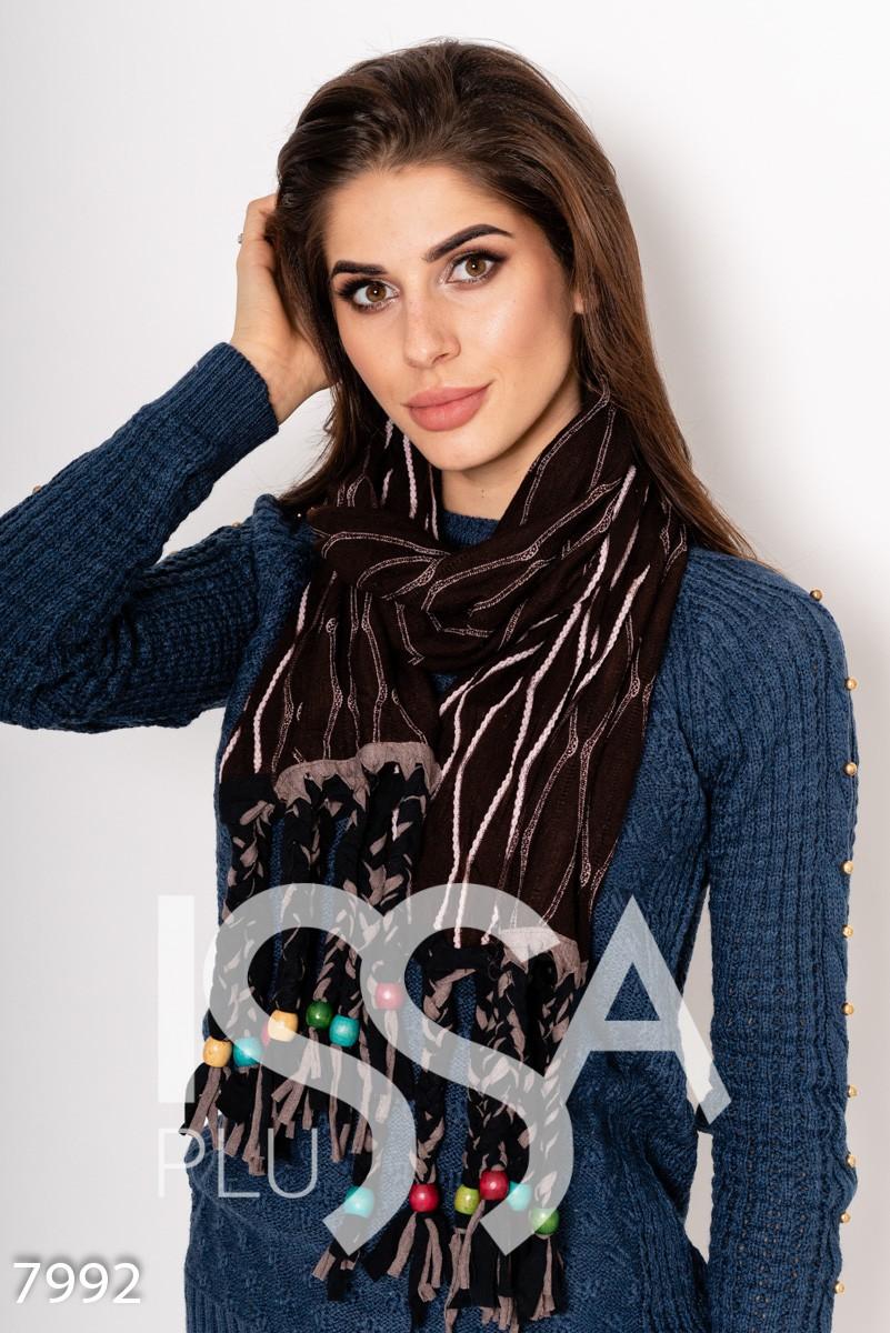 Коричневый  полосатый демисезонный шарф с бусинами на бахроме