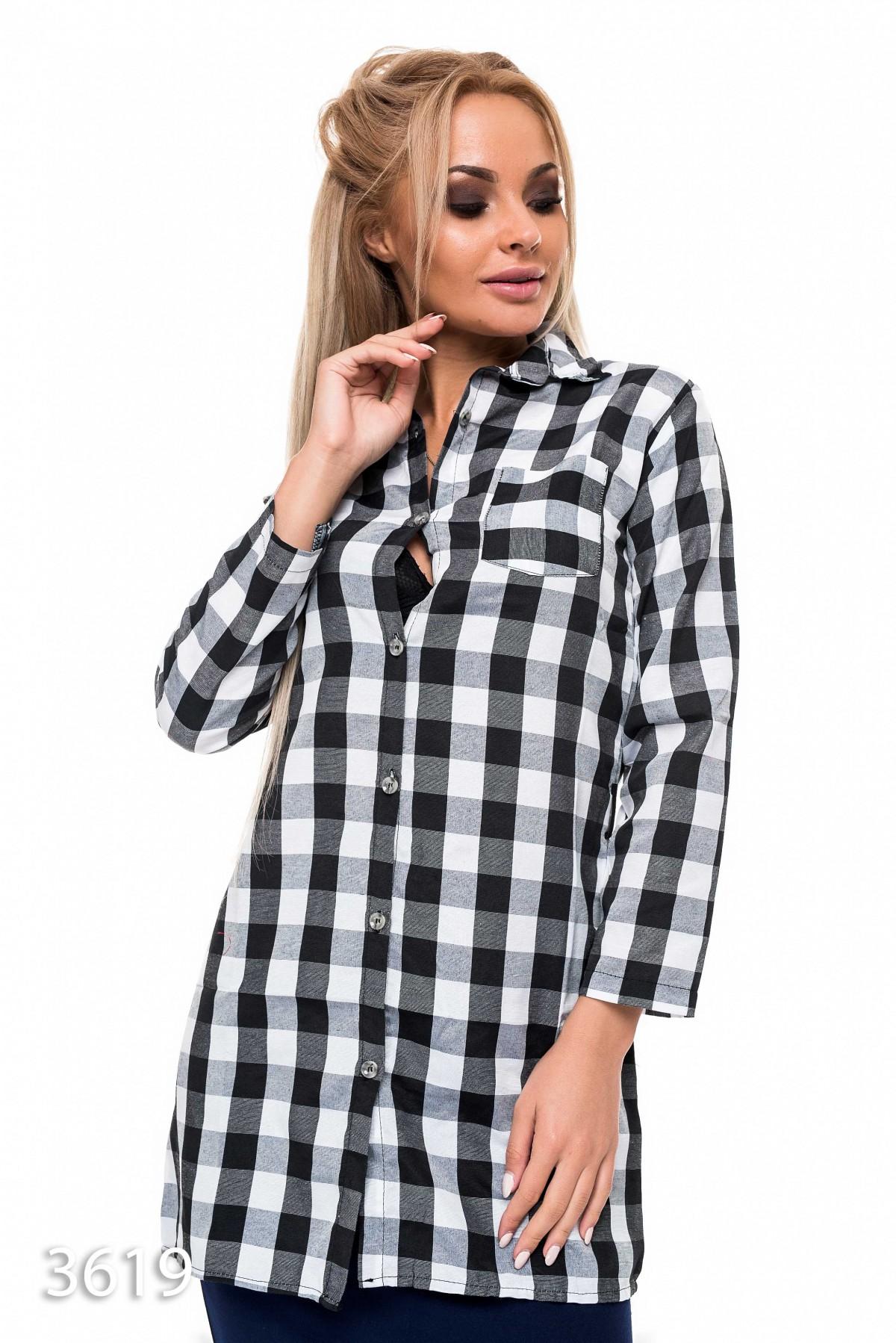 9cd03ed2fcb Женская удлиненная приталенная рубашка в крупную черную и белую клетку  144  грн. фото 2 ...