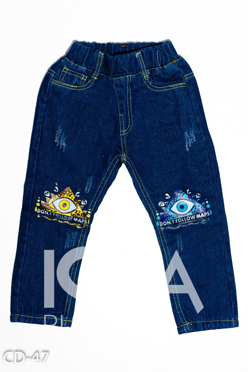 Синие теплые джинсы на флисе с ярким принтом