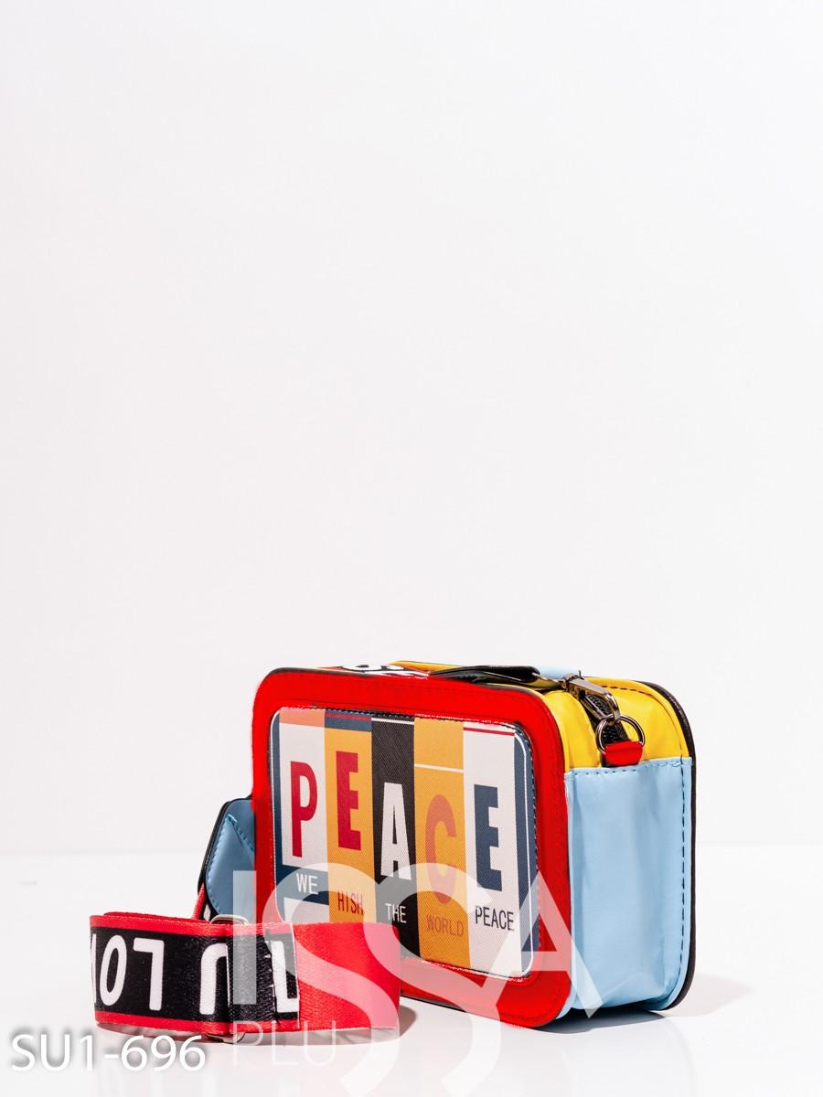 Яркая небольшая каркасная сумка с принтом