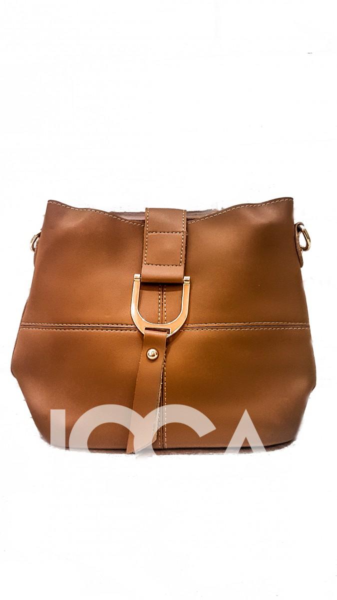 Коричневая сумочка с металлической пряжкой и двумя ремнями в комплекте