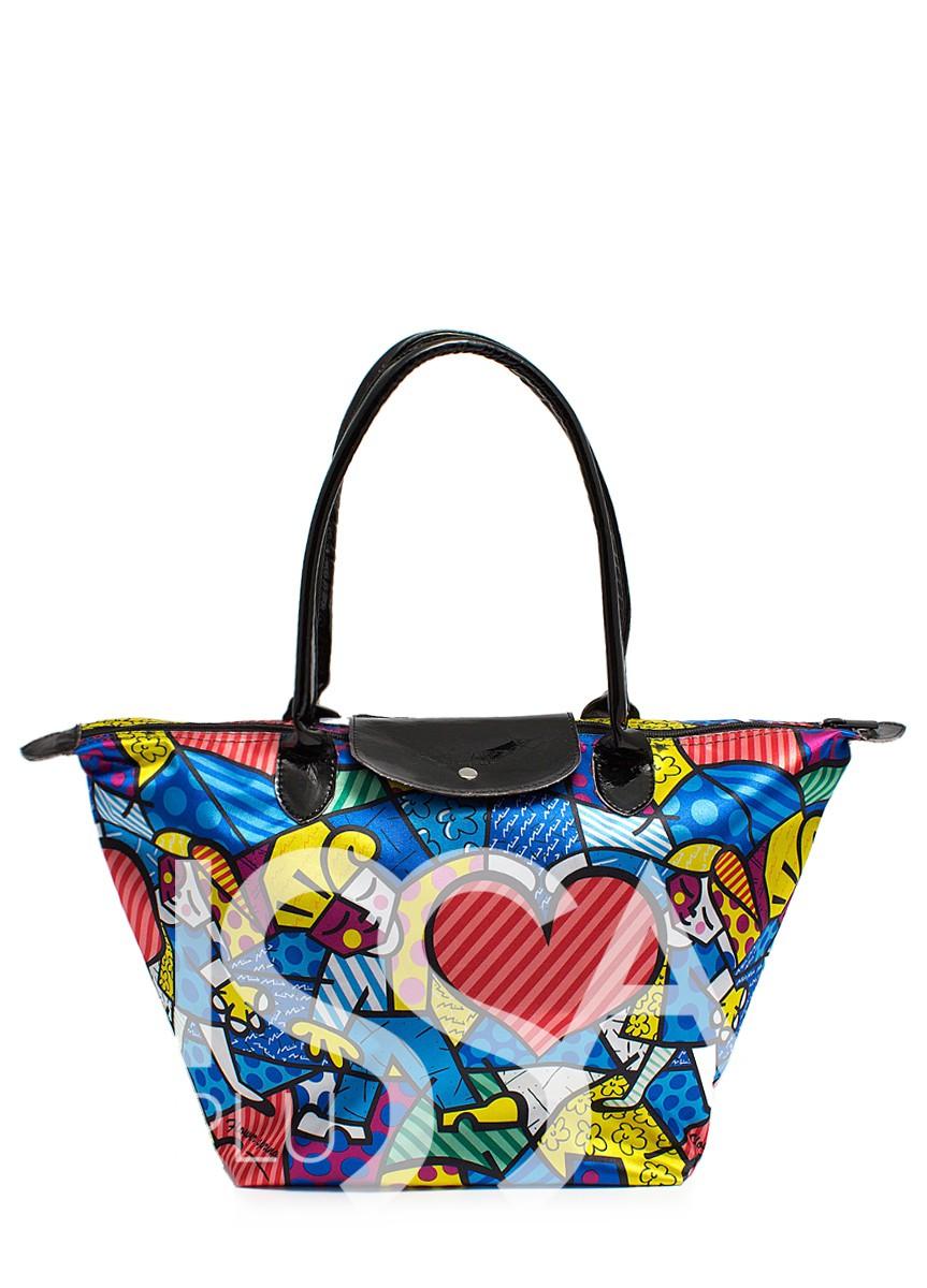 Голубая сумочка с художественным принтом и клапаном