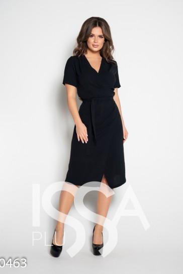 14b8d2053cf9a71 ISSAPlus Черное платье с запахом и короткими рукавами-57714 купить ...