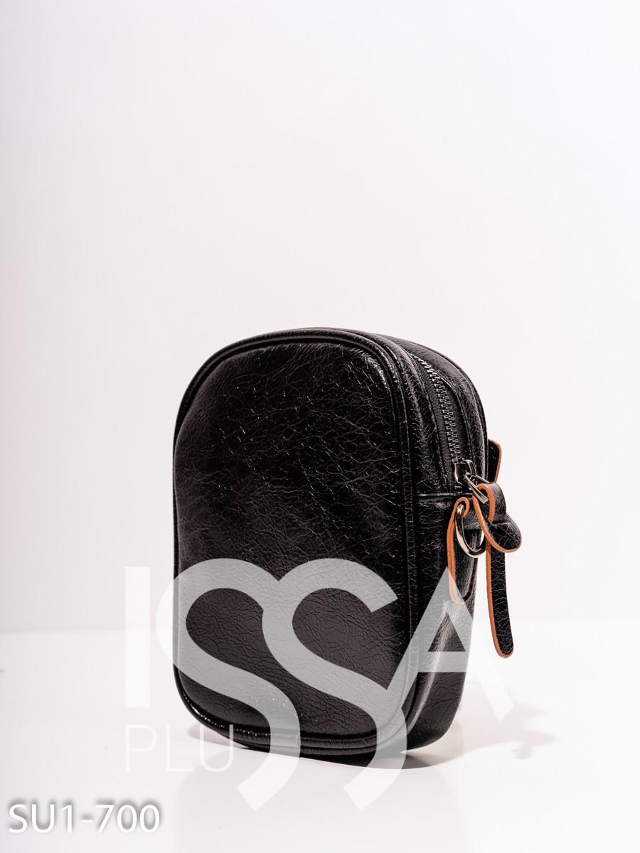 Черная маленькая универсальная сумка из эко-кожи