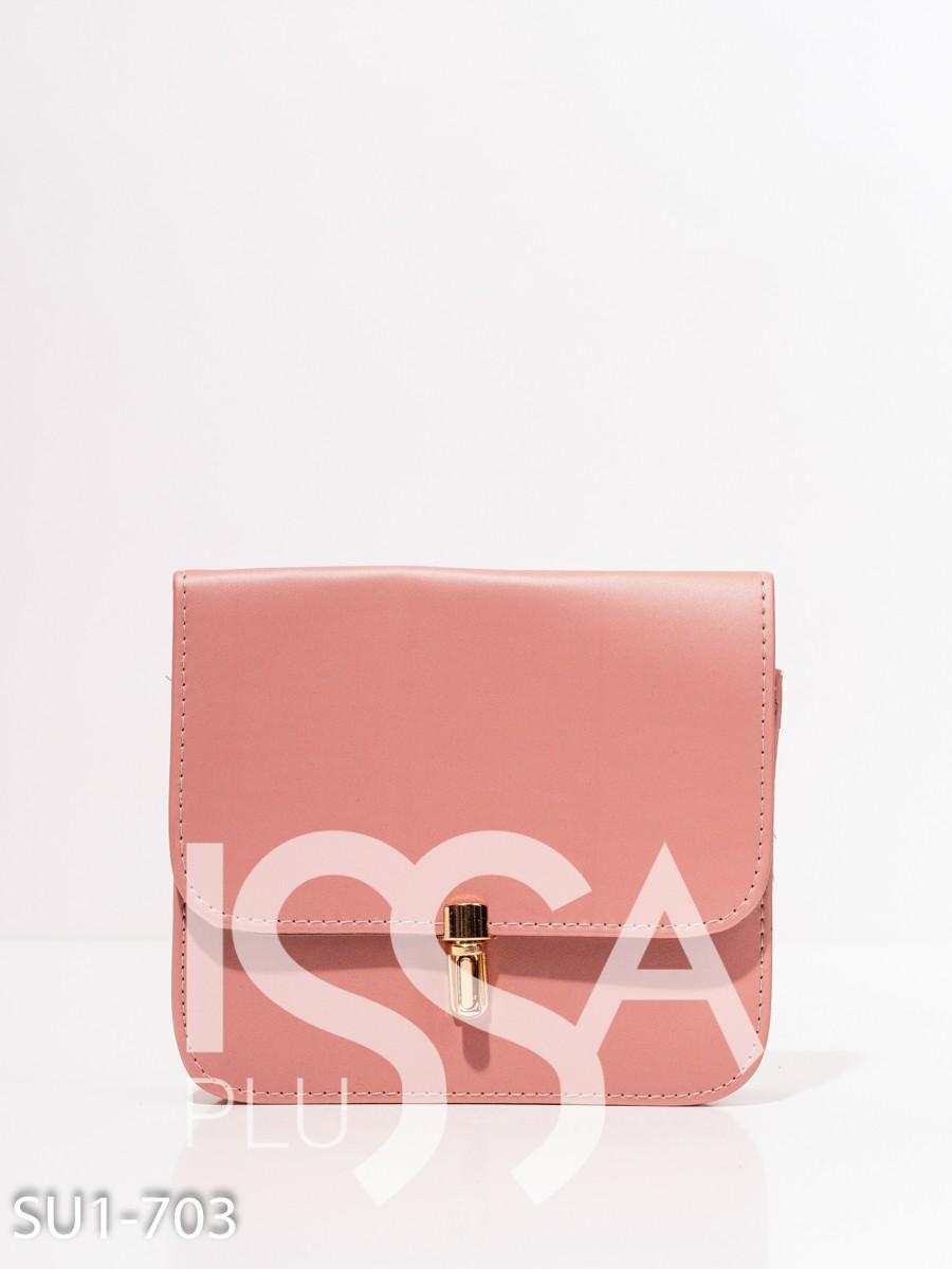 Розовая каркасная маленькая сумка с цепочкой