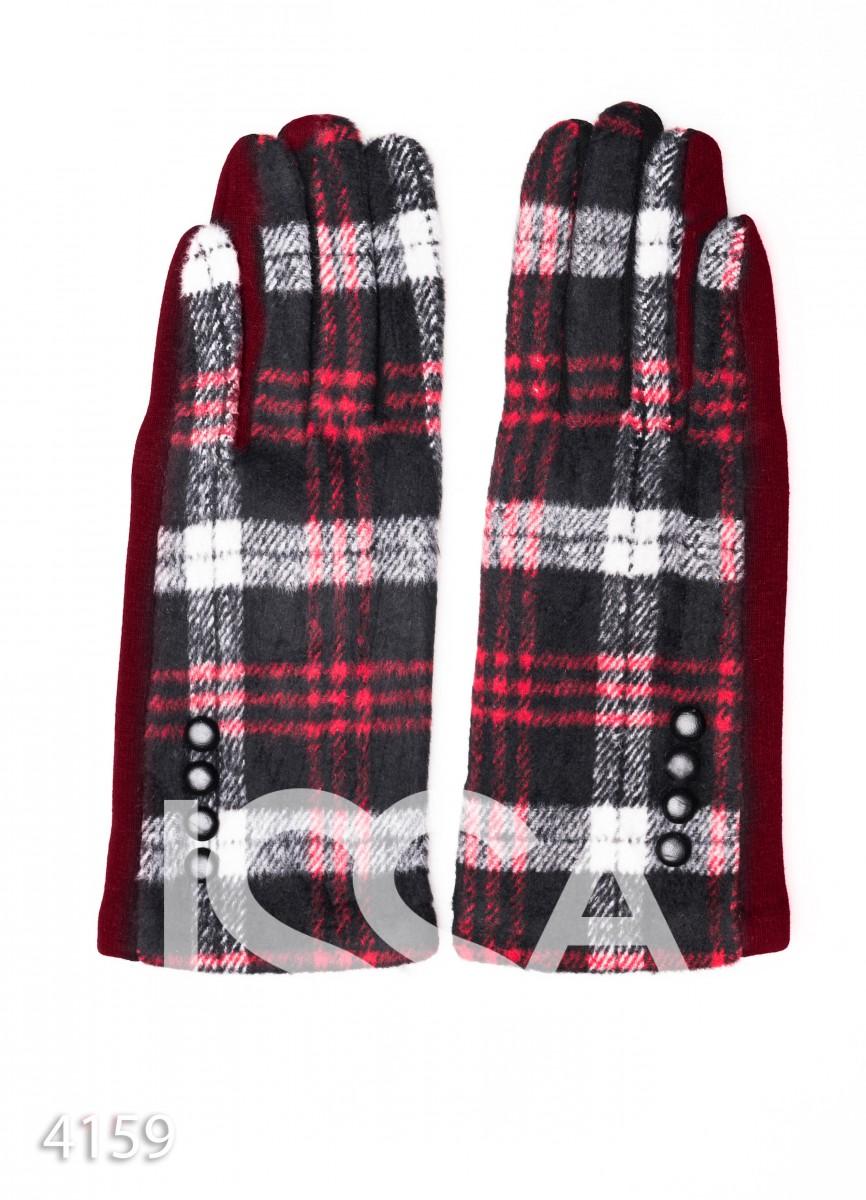 Бордовые комбинированные перчатки с клетчатой вставкой и рядом пуговок