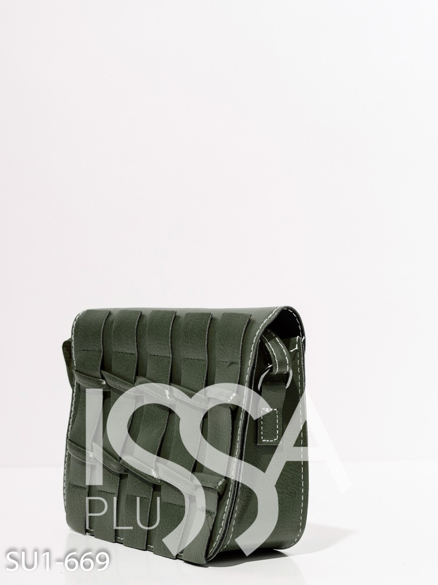 Зеленая каркасная сумка с плетением