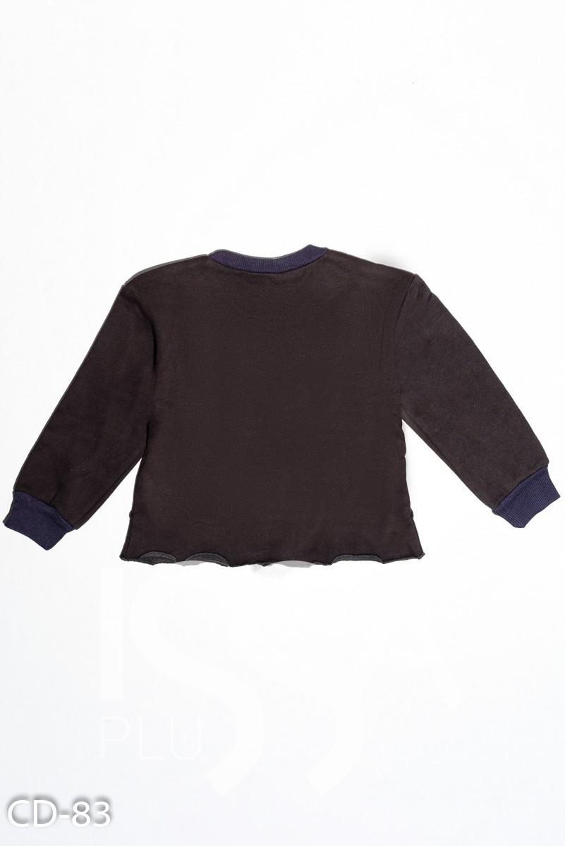 Темно-серая утепленная толстовка с объемными швами и цветными помпонами