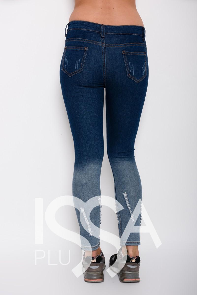 Синие зауженные джинсы с перфорацией и градиентом
