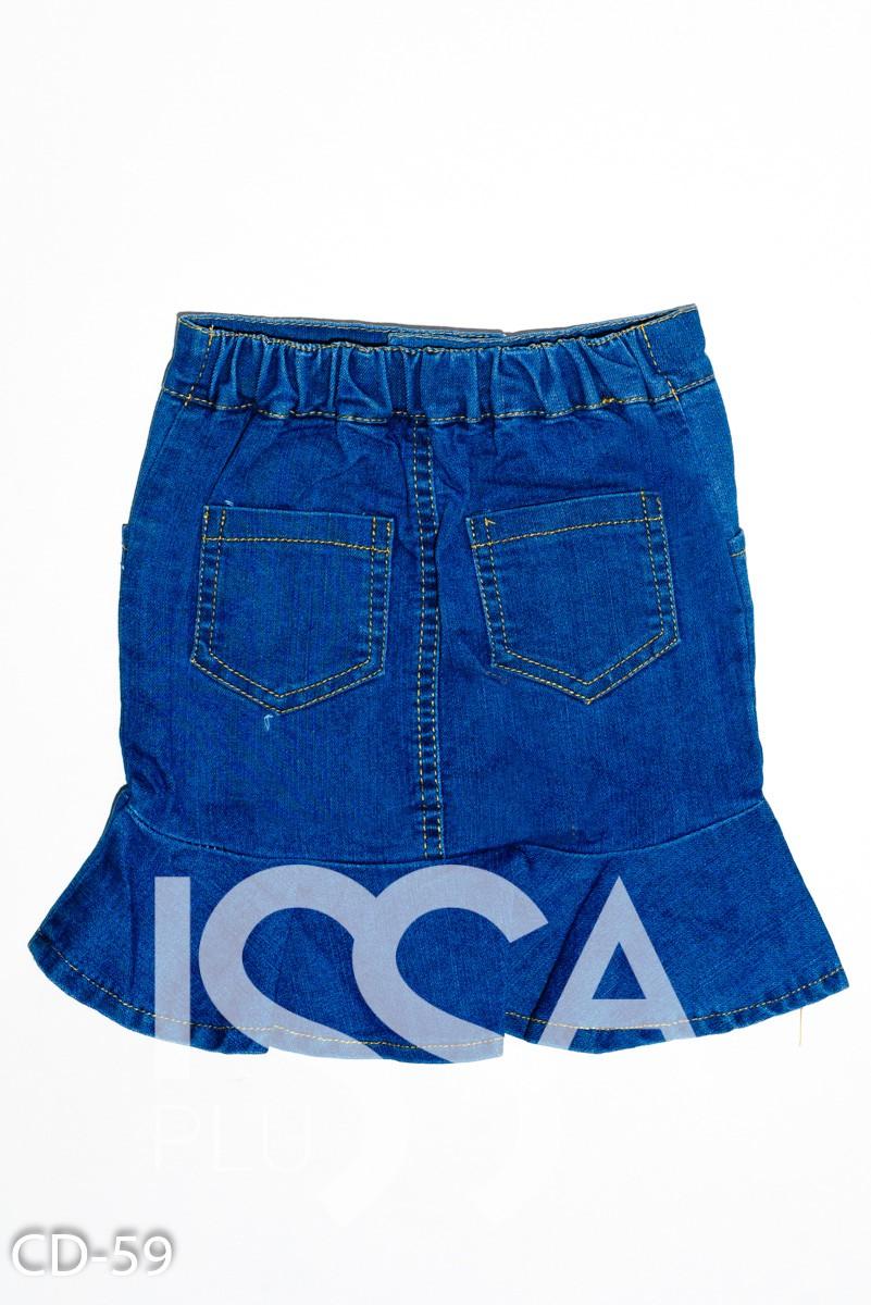 Синяя джинсовая юбка с молнией и воланом