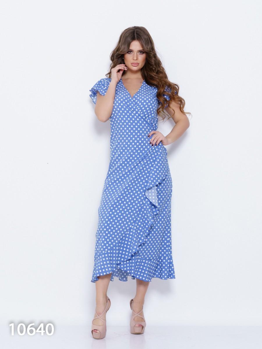 0e4eadbbe9e Синее платье в горох с запахом и рюшами  360 грн. фото 2 ...