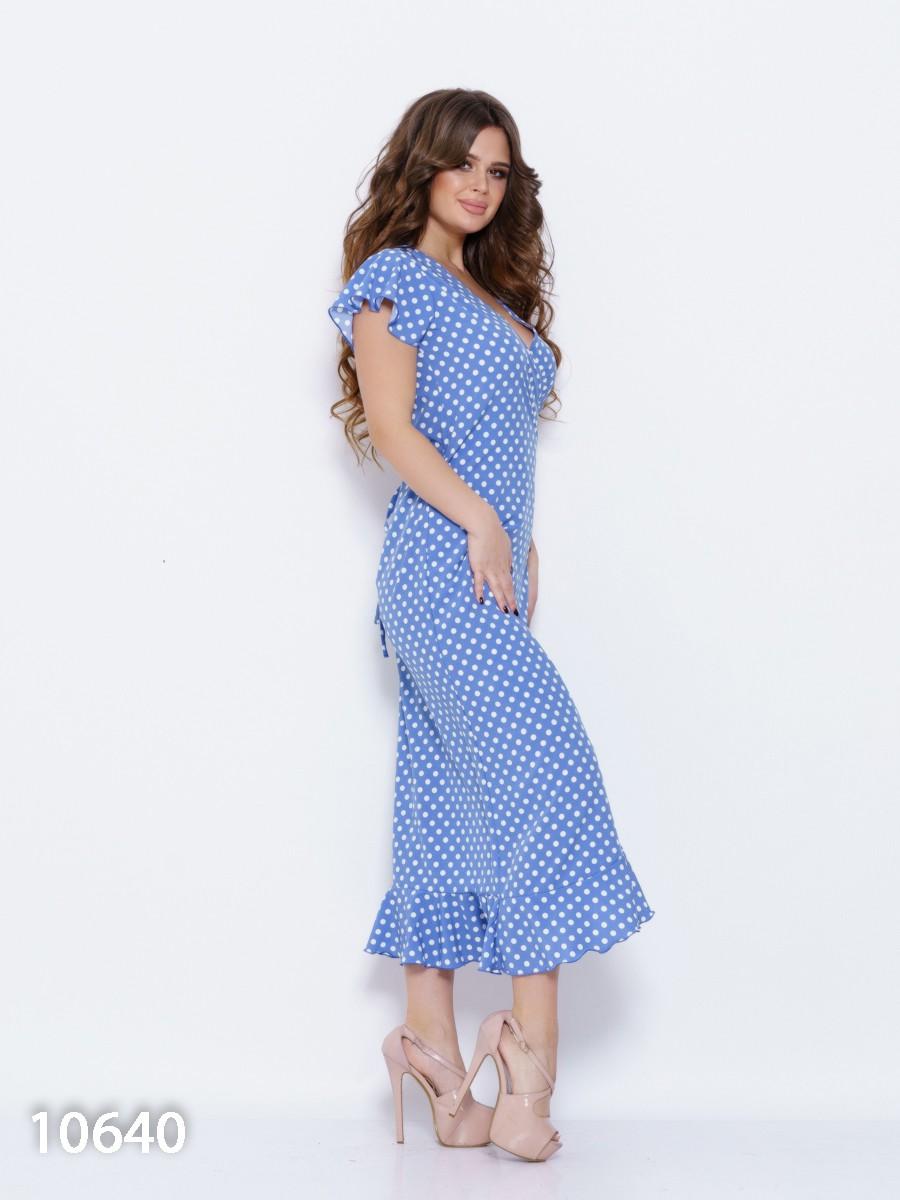 15f3b274cad ... Синее платье в горох с запахом и рюшами  360 грн. фото 3 ...