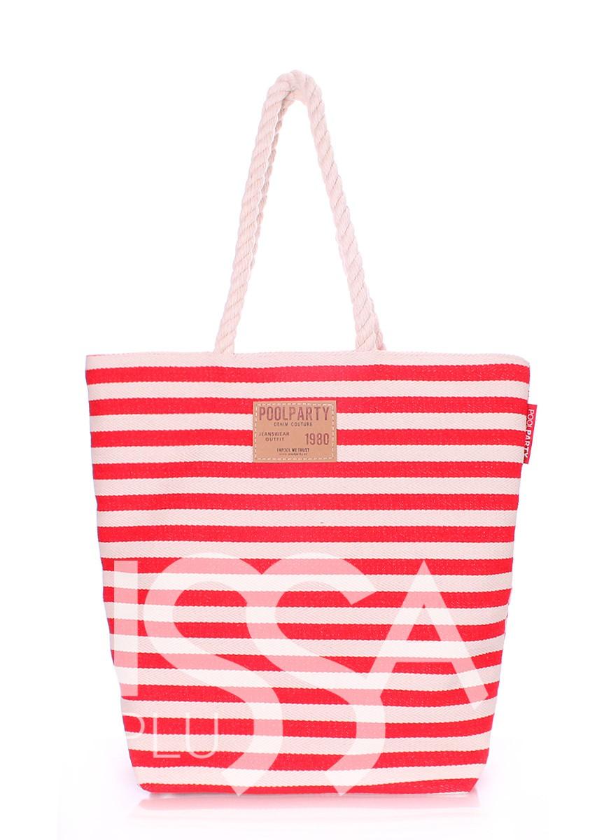 Коттоновая сумка красно-белая