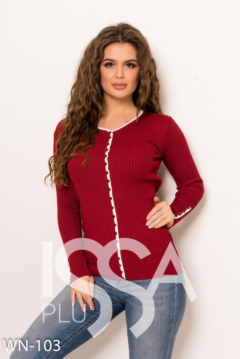 Бордовый фактурный трикотажный свитер декорированный белой планкой с пуговицами