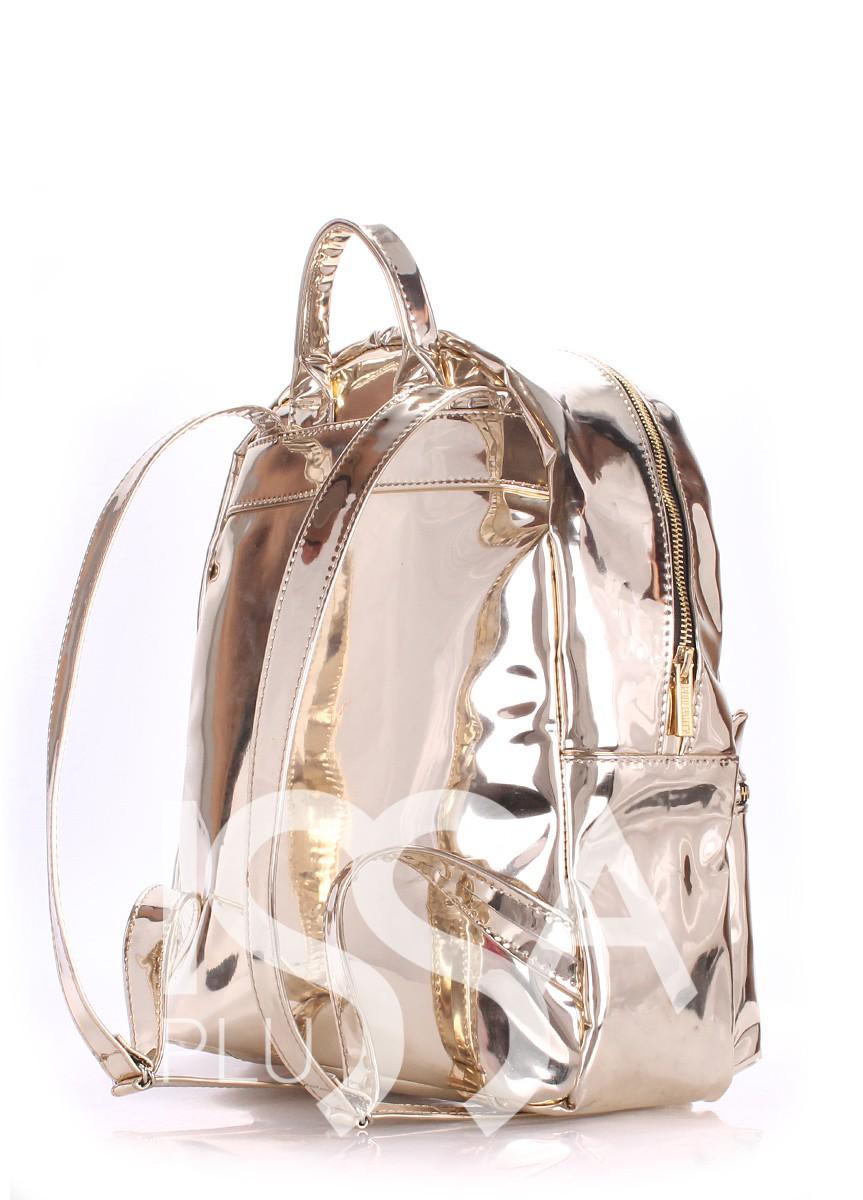 Золотистый рюкзак из эко-кожи с отражающим эффектом