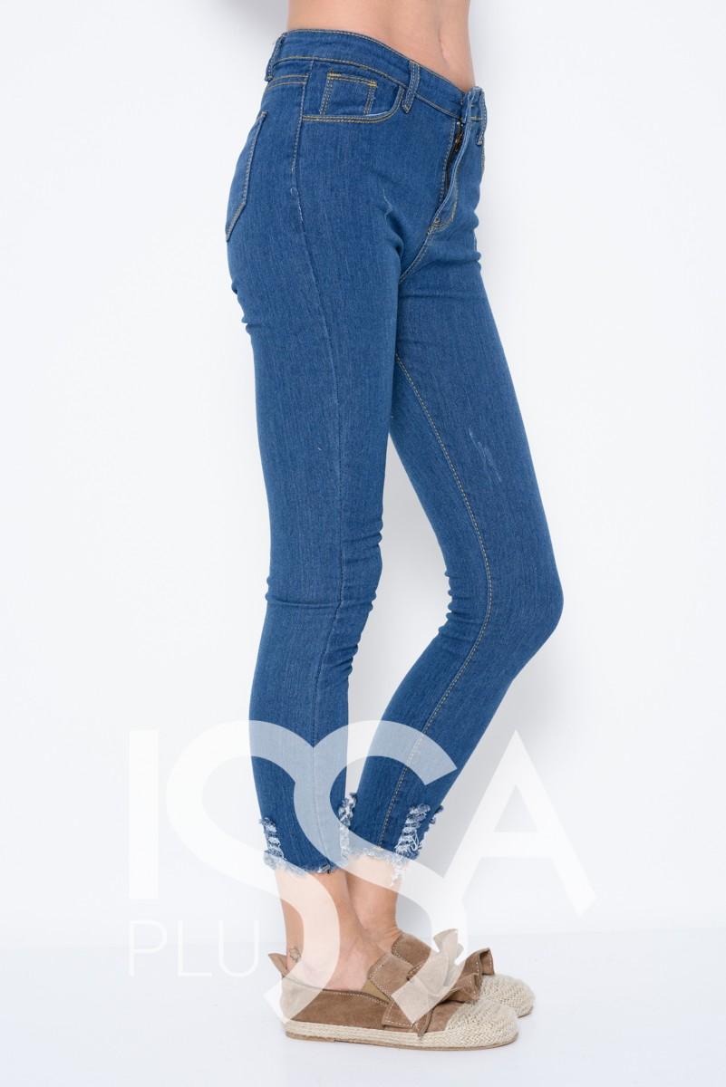Синие джинсы скинни с грубым срезом и перфорацией