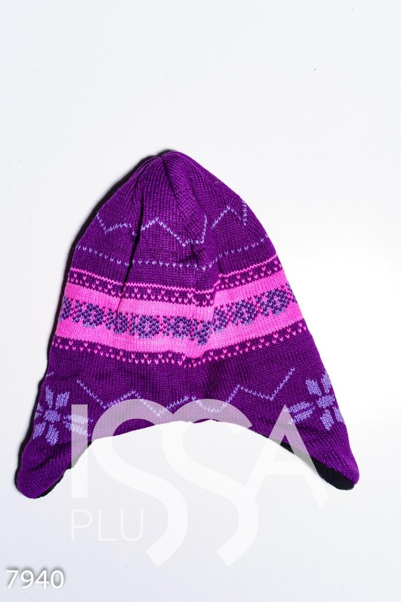 Фиолетово-розовая вязаная шапка на флисе с ушками