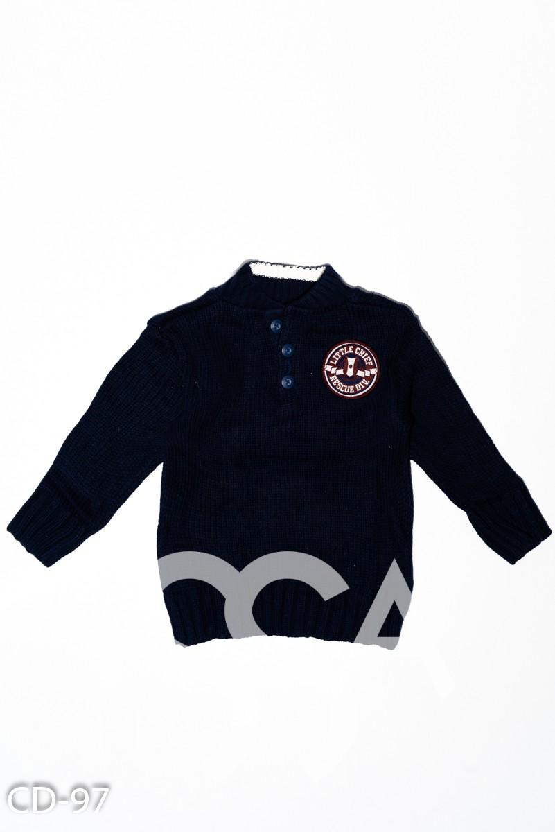 Темно-синий шерстяной вязаный свитер с нашивкой