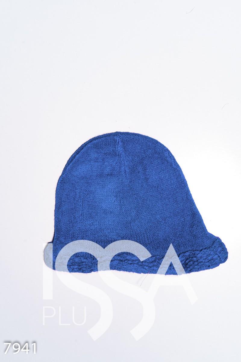 Голубая шерстяная тонкая шапка с объемной манжетой