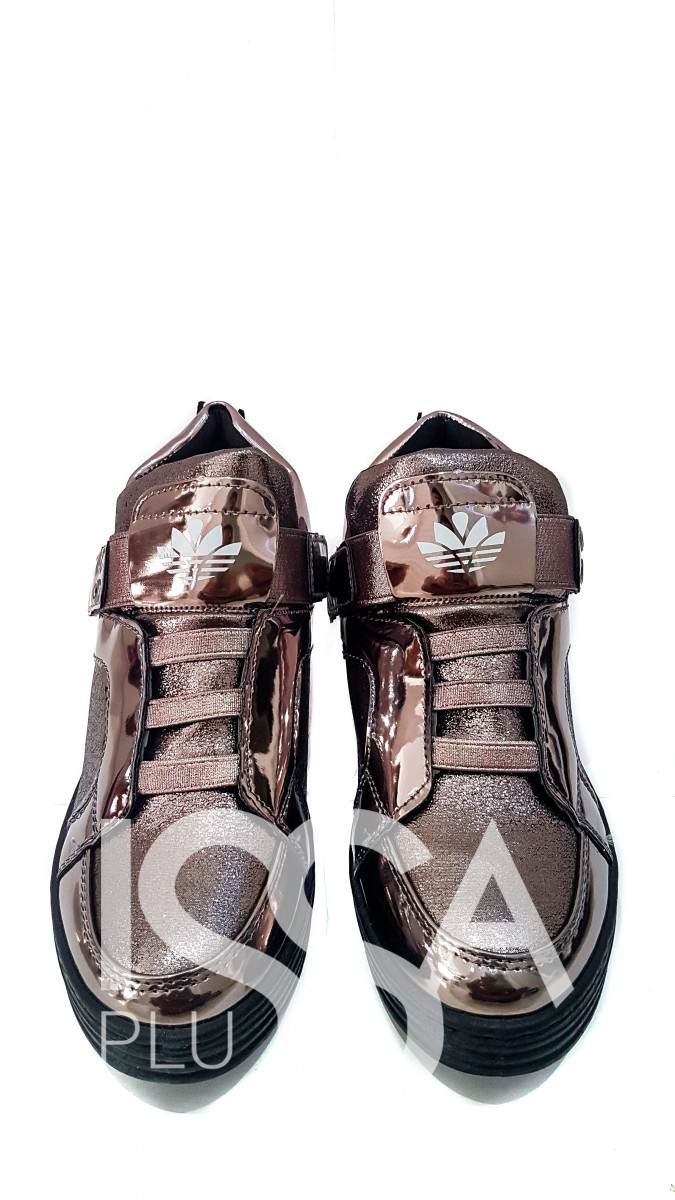 Женские кроссовки с блестками и вставками металлик
