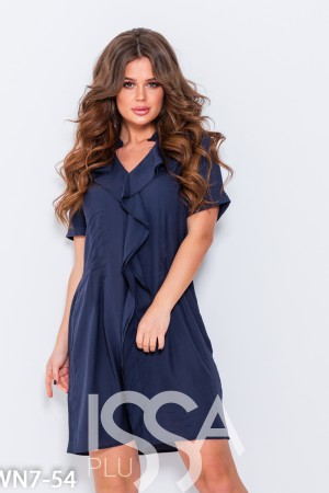 dd49192c3b5 Темно-синее свободное платье с воланами