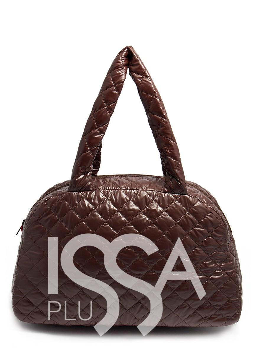Коричневая Стеганая сумка-саквояж с лаковым покрытием