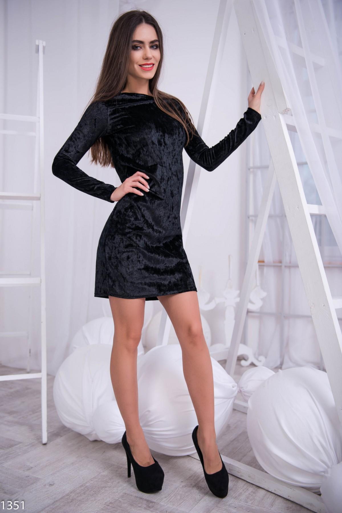 Платье черное велюровое